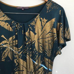 Hale Bob Leaf Print Silk Dress in Teal/Gold EUC
